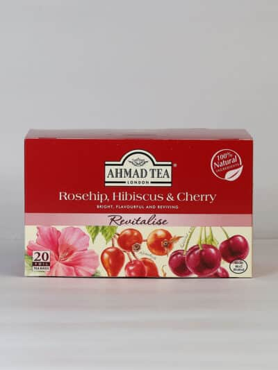 A box of rosehip hibiscus and cherry tea