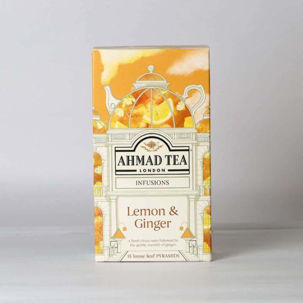 A box of Ahmad lemon and ginger tea