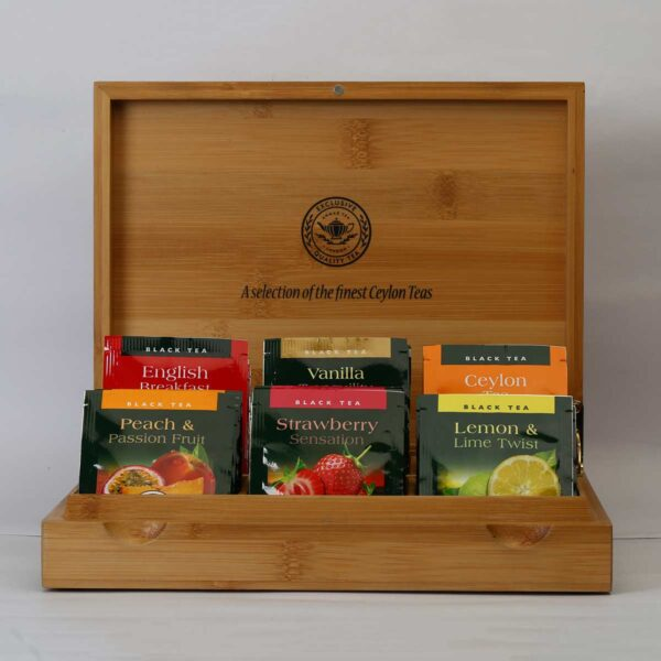 A box of flavored Ahmad teas