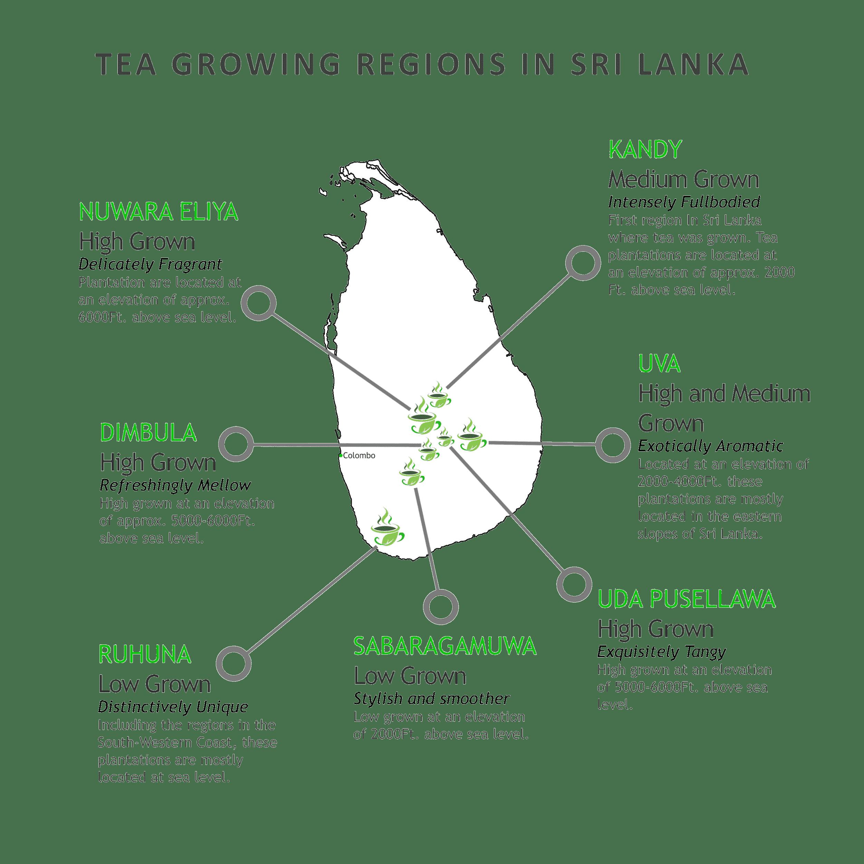 Map of tea growing areas in Sri Lanka